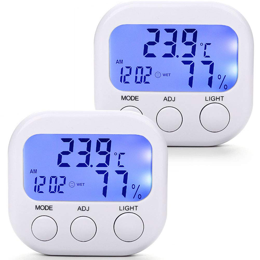 HomEnjoy Digital Hygrometer Indoor Thermometer Humidity Monitor Temperature Humidity Gauge with Alarm Clock & Blue Backlight, Wireless for House, 2 pack