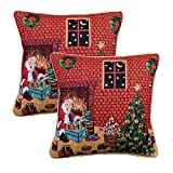 Queenie - 2 Pcs Christmas Series Tapestry Decorative Pillowcase Cushion Cover for Sofa Throw Pillow Case with Cord 18 X 18 Inch (45 X 45 Cm) (2, Santa in front of fireplace)
