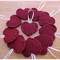10 maroon heart decorations, Valentines burgundy red wine merlot ornaments