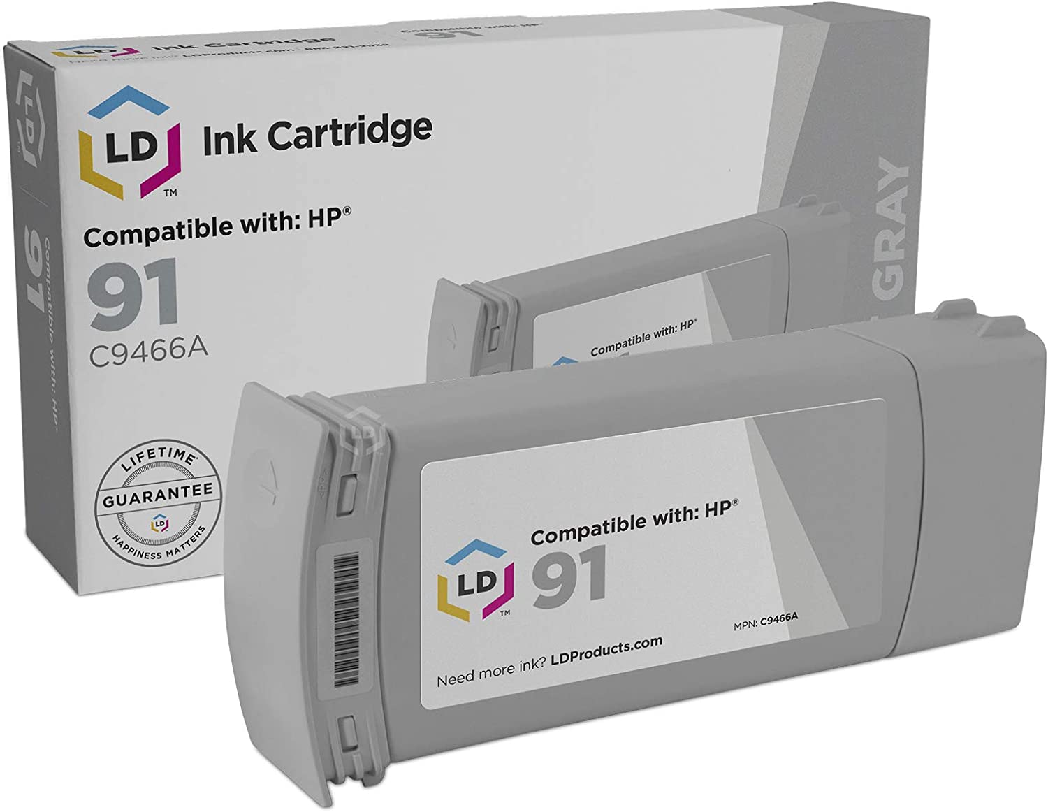 LD Remanufactured Ink Cartridge Replacement for HP 91 C9466A (Light Gray)