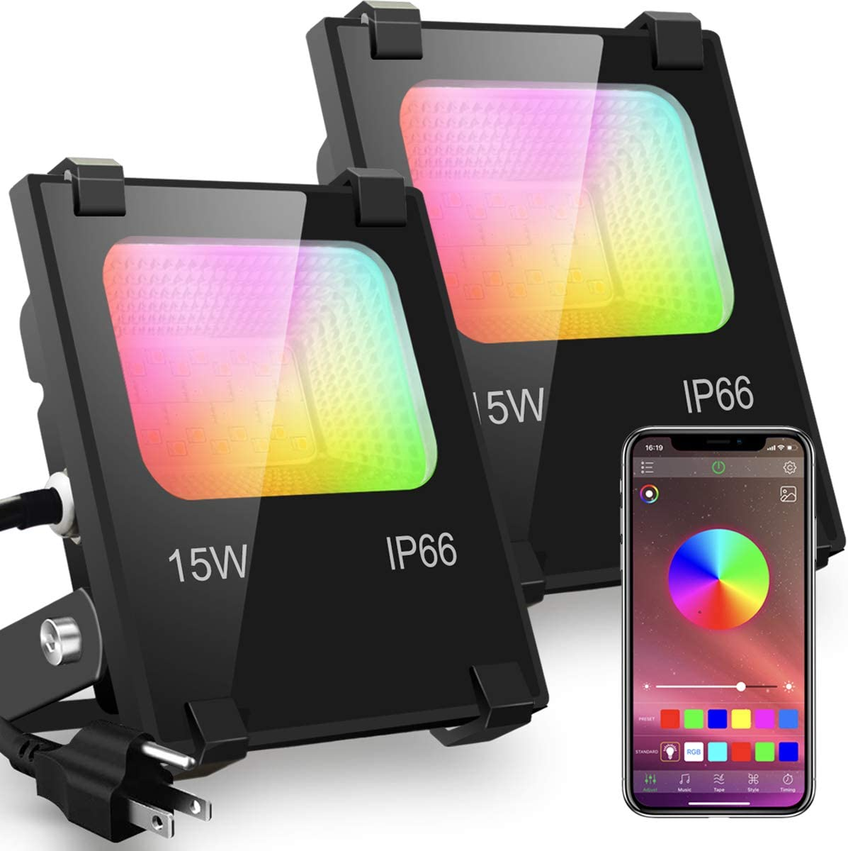 LED Flood Light Outdoor, 15W RGB Color Changing, Bluetooth Smart Floodlights RGBW 2700K Warm White & 16 Million Colors, 20 Modes, Grouping, Timing, IP66 Waterproof, Controlled by Phone (2 Pack)