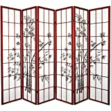 Oriental Furniture 6 ft. Tall Lucky Bamboo Shoji Screen - Rosewood - 6 Panels