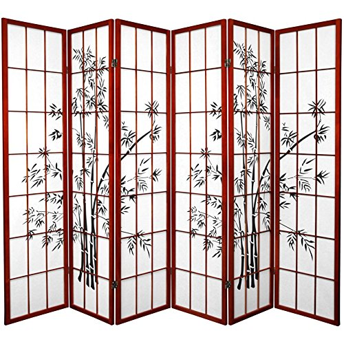 Dividers Accent Screen (Oriental Furniture 6 ft. Tall Lucky Bamboo Shoji Screen - Rosewood - 6 Panels)