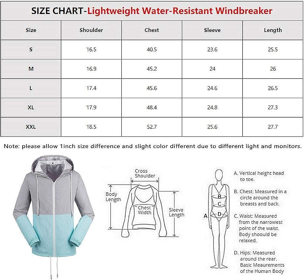 Wendao Womens Lightweight Water-Resistant Raincoat Windbreaker Jacket with Hood Yellow Pink Sky Blue S-2XL