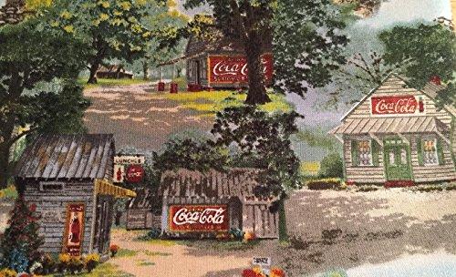 Valance Topper Coke Coca Cola Barn Cotton Window Curtain Valance handmade 42W x 15L FABRIC