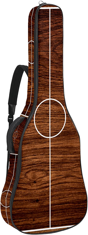 Funda de Guitarra Campo de fútbol de madera Bolso de guitarra 40 41 pulgadas 10mm Acolchada con 2 bolsillos para Guitarra Acústica Clásica y Eléctrica 109x43x12cm