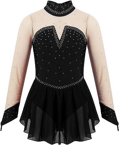 Kaerm Kids Little Girls Sequins Long Sleeves Tulle Splice Ballet Dance Gymnastics Leotard Dress Dancewear