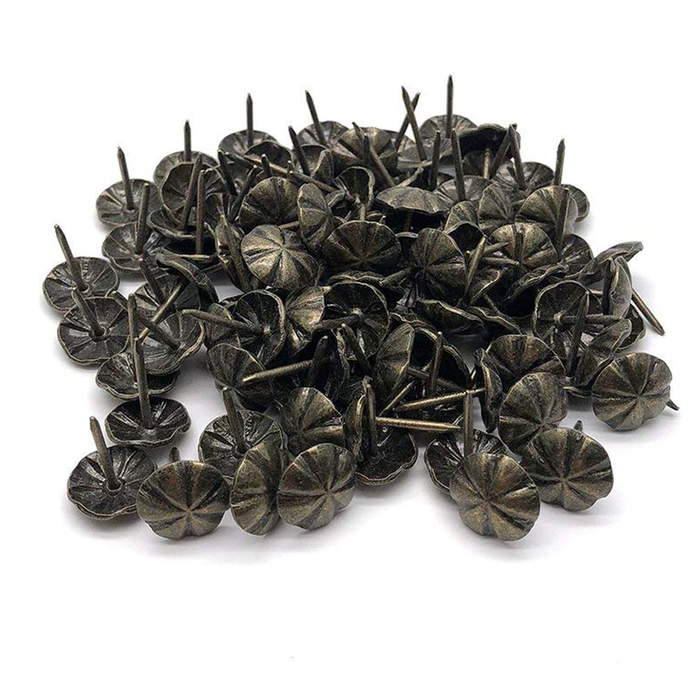 Sydien 16mm/0.63 Inch Flower-Pattern Head Nail Upholstery Tack Home Furniture Decor Nail 100 Pcs (Bronze Tone)