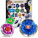Battling Tops Metal Master Fusion Starter Set Storm Pegasus/Flame Libra/Earth Eagle/ Lightning L-Drago with 4D Spinning Launcher Grip Toys Gift for Boys