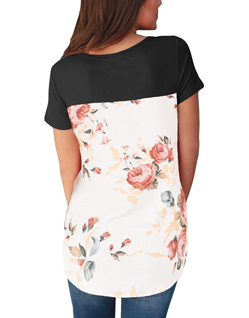 Black YIJIU Women Floral Print Criss Cross V Neck Short Sleeve T Shirt Blouse Top