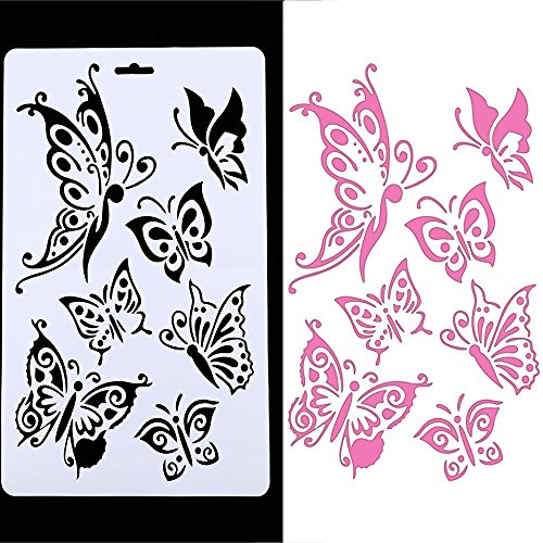 Embossing Plastic Stencil - Genenic Butterfly Painting Stencil Template, Hollow Embossing Stencil,Plastic Reusable Stencil DIY Scrapbook Paper Crafts Cards