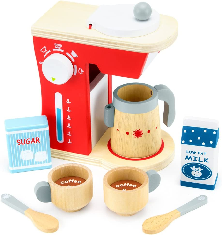 Imagination Generation Wood Eats! Good Mornings Coffee Maker Playset with Milk and Sugar (10pcs)