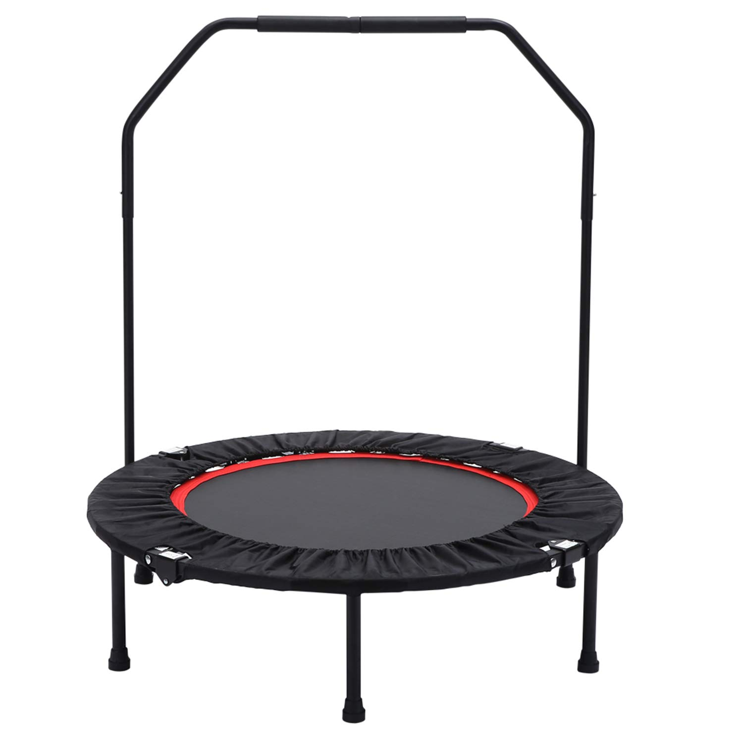 Seatopia Portable 40 Fitness Trampoline with Adjustable Handrail,Foldable Rebounder, Silent Aerobic Exercise Trainer for Adults and Kids,Max Load 300lbs