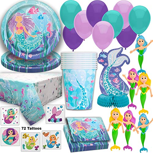 Mermaid Party Supplies for 16 Guests, Plates, Cups, Napkins, Tablecloth, Centerpiece, Balloons, Tattoos, Mermaid Bendable Dolls - Under the Sea Birthday Party Tableware, Decorations, and Favors set -