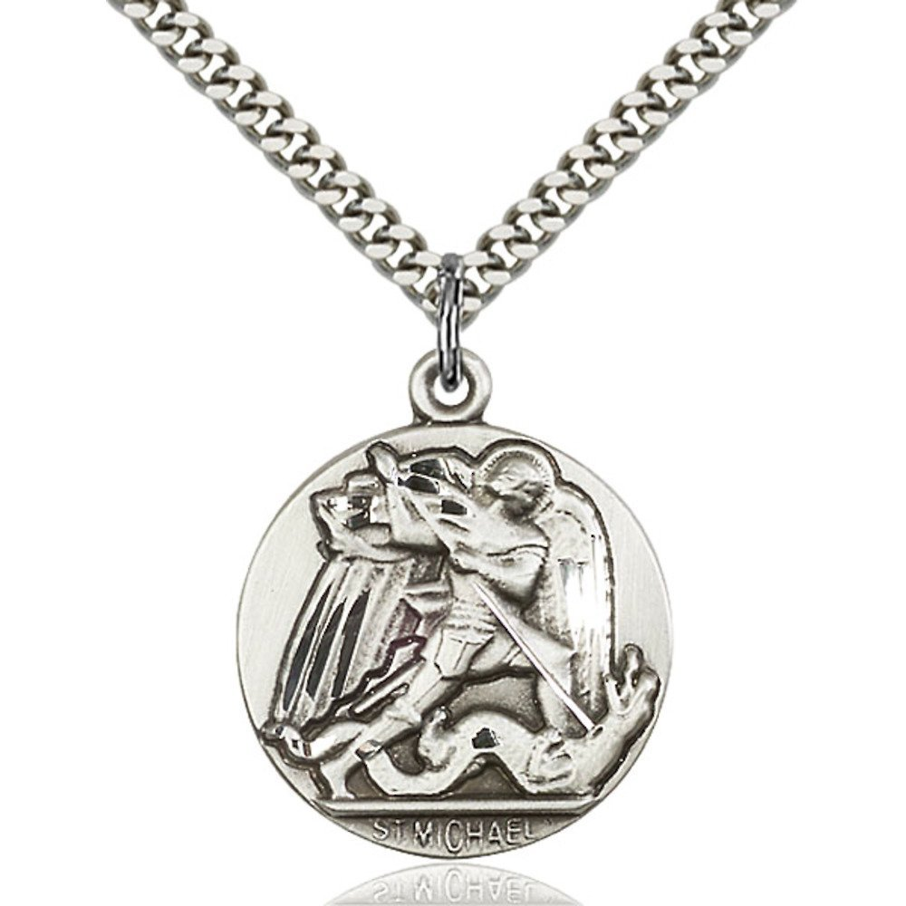 Sterling Silver St. Michael the Archangel Pendant 1 x 7/8 inches with Heavy Curb Chain