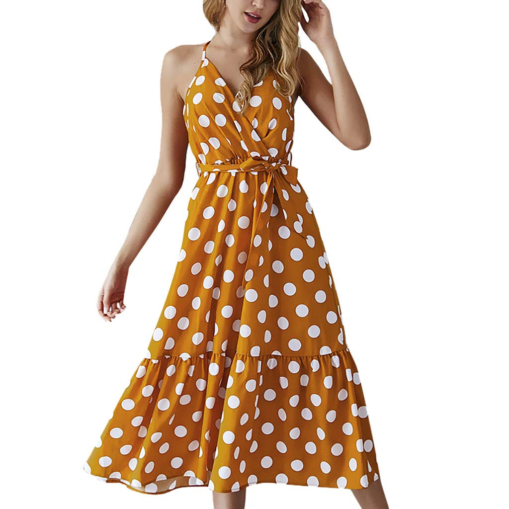 Women Strap Wrap Tie Dress - Ladies Elegant Polka Dot V Neck Ruffle Hem Dresses - Loose Beach Party Clothes (S, Yellow)