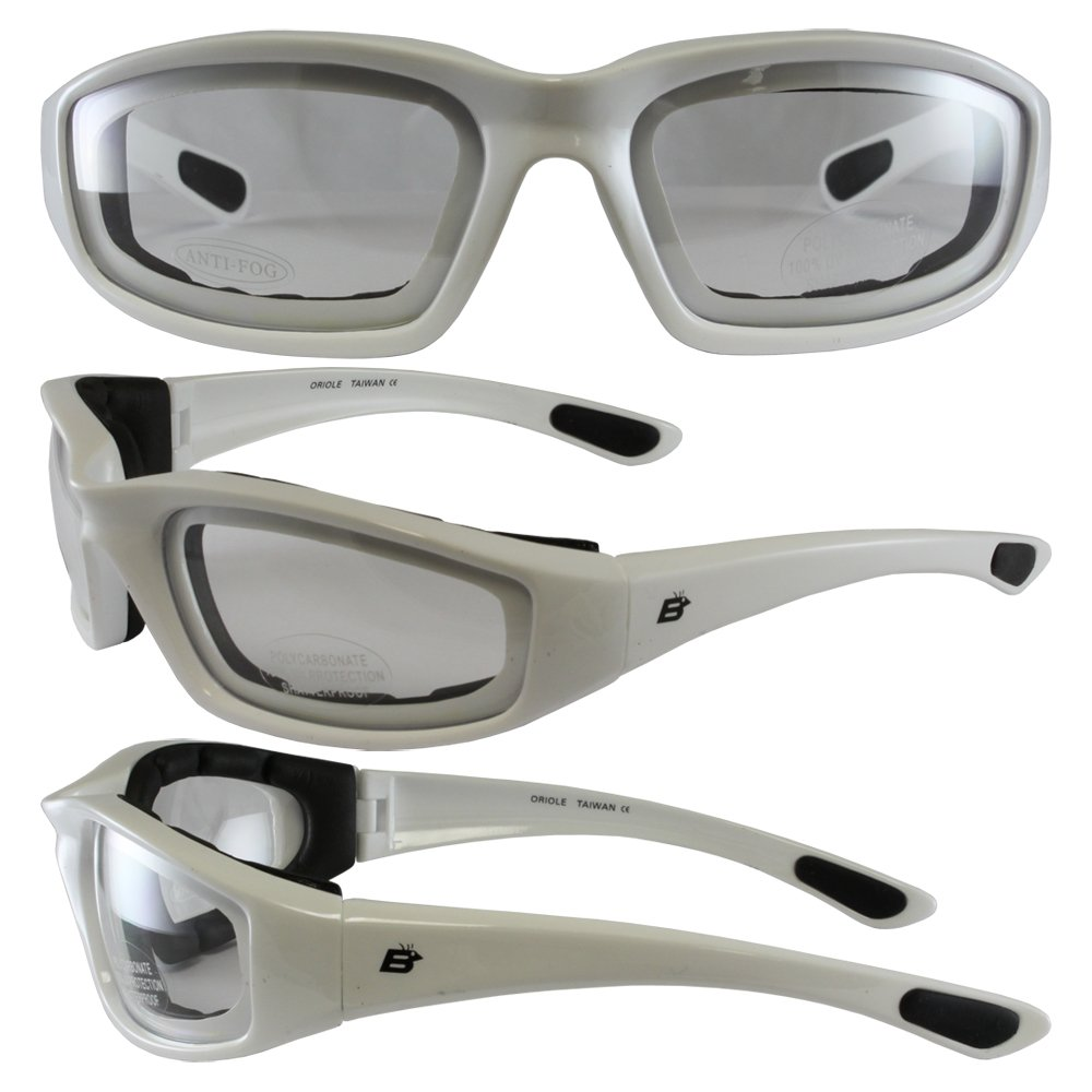 Birdz Eyewear Oriole Padded Motorcycle Glasses Black Frame//Mirrored Brown Lens