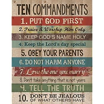 Amazon Com Ten Commandments Pine Wood Look 12x15 Wall