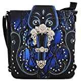 Camouflage Crossbody Camo Single Shoulder Bag Rhinestone Purses Country Women Mini Handbags (Buckle Blue)