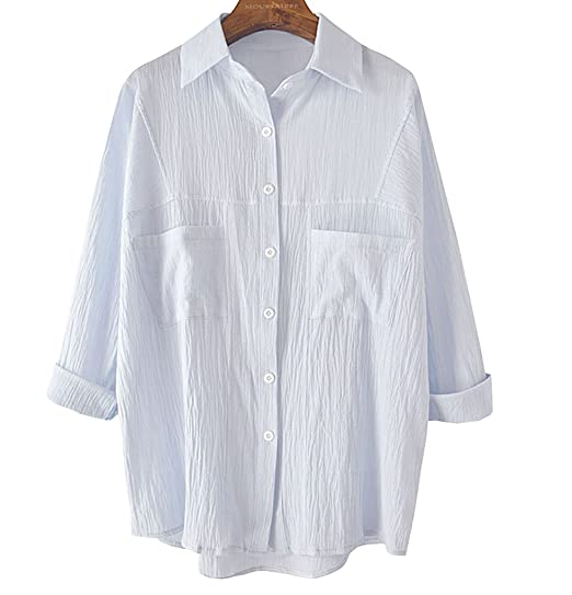 Soojun Womens Solid Loose Button Down Cotton Linen Shirts Blouses At