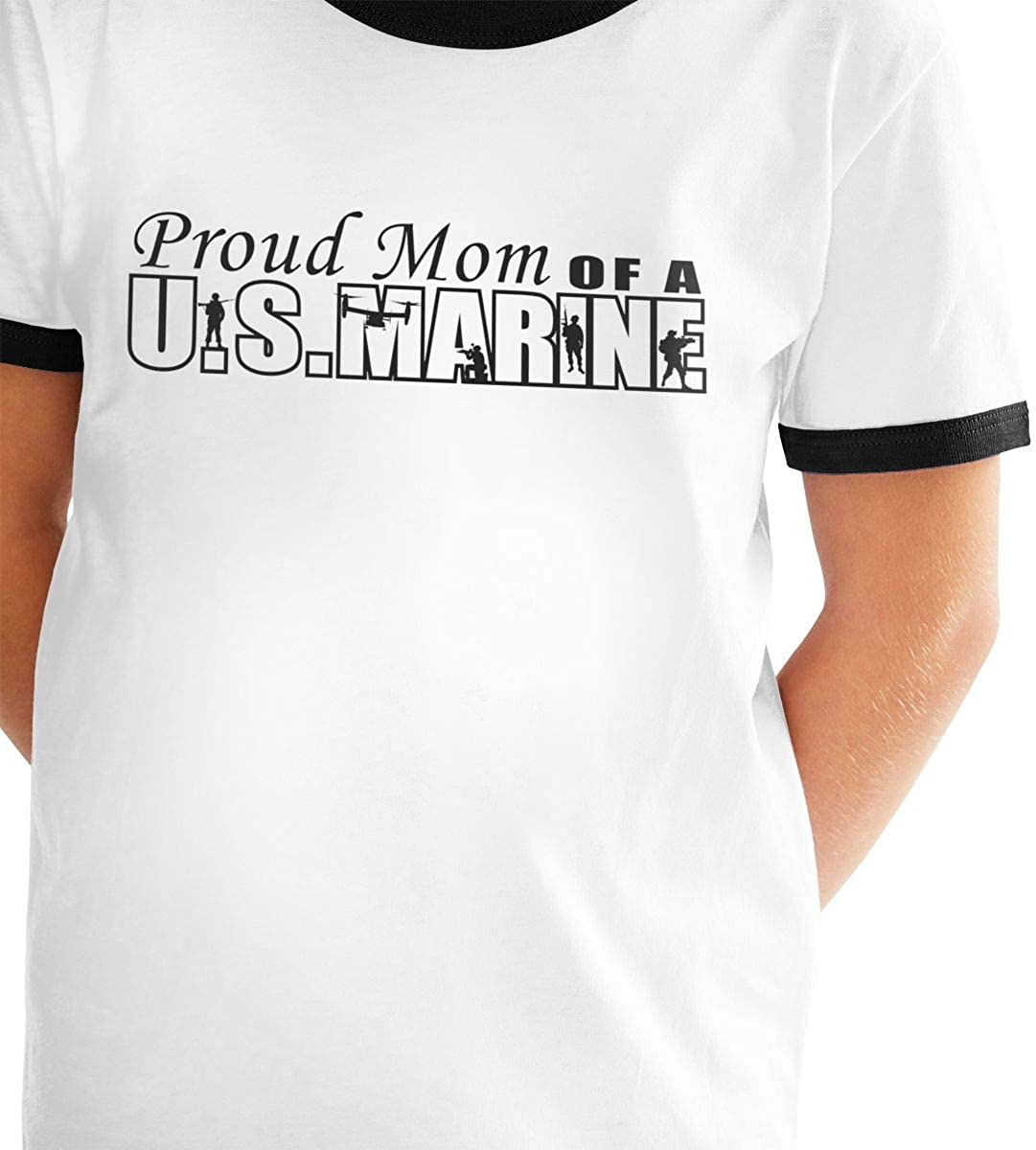 Kids Or Little Boys and Girls Proud Mom of A US Marine Unisex Childrens Short Sleeve T-Shirt
