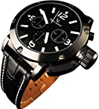 YouYouPifa Business Style Black Band Watch Leather Strap Men's Quartz Wrist Watch (White/Black Dial)