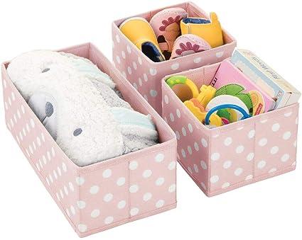 Kinderschrank Organizer in 2 Gr/ö/ßen aus Kunstfaser Kinderzimmer Aufbewahrungsbox im Punkte-Muster Bad usw mDesign 3er-Set Aufbewahrungsboxen f/ür das Kinderzimmer hellgrau und wei/ß
