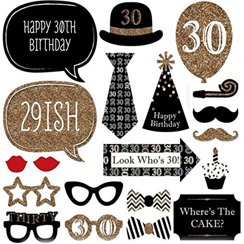 30th Birthday Moustache Funny Party Decoration Supplies Photo Booth Props Kit 20pcs Man Woman Style