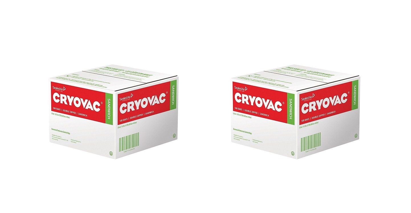 Diversey Cryovac Resealable Double Zipper Sandwich Bags - Professional Pack (500 Count) (2 PACK)