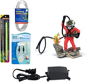 Penn-Plax Action-Air Ornament Bundle Gift Set - Comes with Air Pump, Tubing, Bubble Wall, Gang Valve, and Action Ornament for Your Aquarium