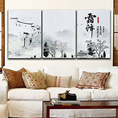 Charming Piece of Art, Professional Creation, 3 Panel Chinese Ink Painting Style Landscape with Ancient Building During The Fall Season x 3 Panels