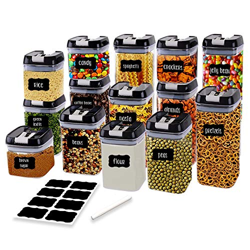 - Airtight Food Storage Containers for Pantry Organization and Storage by Simply Gourmet. 14-Piece Set + 32 FREE Chalkboard Labels & Marker. Air Tight Containers for Food - Perfect for Kitchen Storage