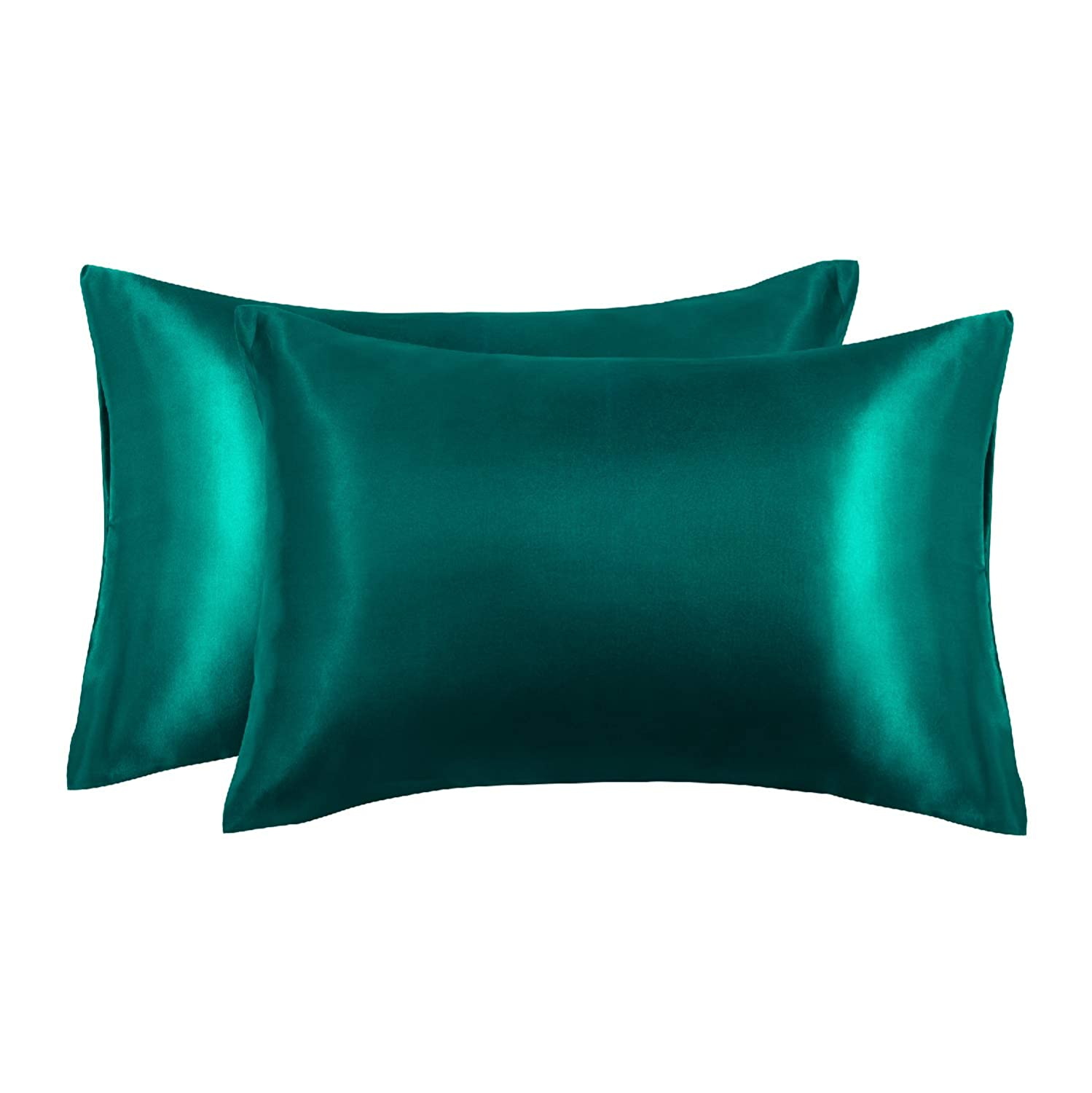 EXQ Home Satin Pillowcases Set of 2 for Hair and Skin Queen Size 20x30 Green Pillow Case with Envelope Closure (Anti Wrinkle,Wash-Resistant)