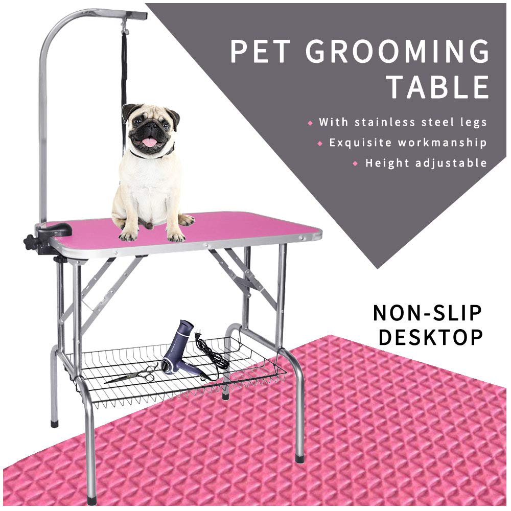 LEIBOU Pet Dog Grooming Table Foldable Grooming Table Heavy Duty Stainless Steel Frame with Arm & Noose & Mesh Tray for Dog Cat Pet Grooming Pink(32'' x 20'' x 30'')