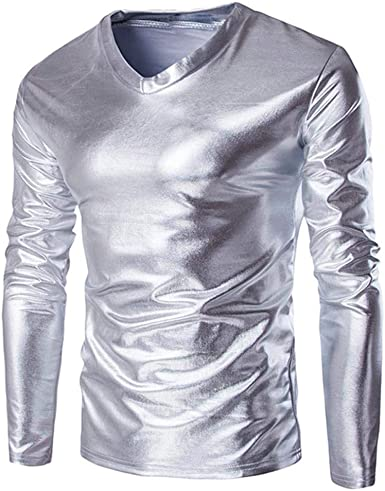 Camisas De Manga Larga Hombres Jersey De Punto Metálico Wet ...