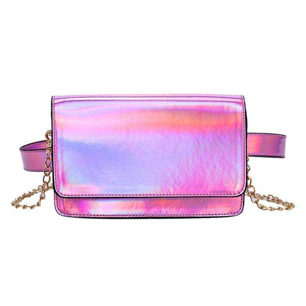 JNHVMC Women Holographic Waist Pack Small Multifunction Messenger Bag Chain Shoulder Handbag For Girls