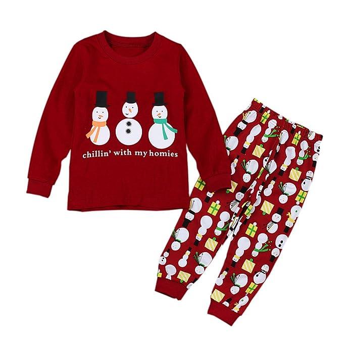 6f1fe2b7e47e Hzjundasi Natale Vestiti Bambini Ragazze Pigiama Set Maniche lunghe Pattern  Pullover Pigiami 3-8 anni: Amazon.it: Abbigliamento
