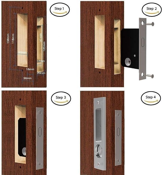 CCJH - Cerradura de puerta empotrada invisible para puerta corredera de granero interior de madera con 3 llaves para cerradura de puerta de muebles: Amazon.es: Bricolaje y herramientas