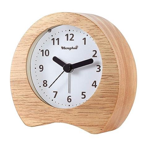 PINGHE Reloj Despertador Analógico - Alarma Despertador con Luz y Sonido - Reloj Retro de Madera Natural Color Marrón - con Función Snooze