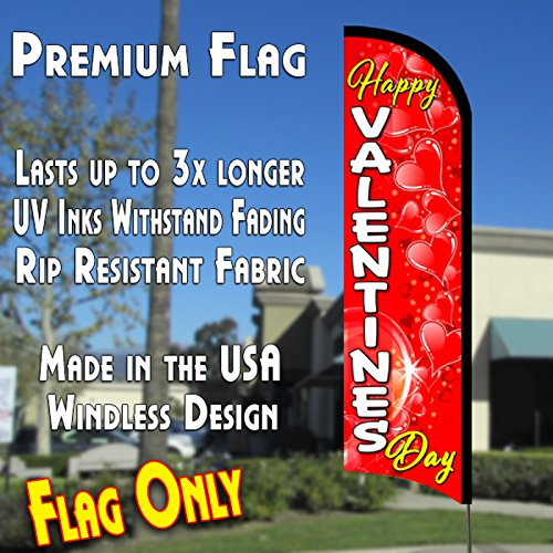 Nice Happy Valentines Day Premium Windless Polyknit Feather Flag (3 x 11.5 feet) for cheap