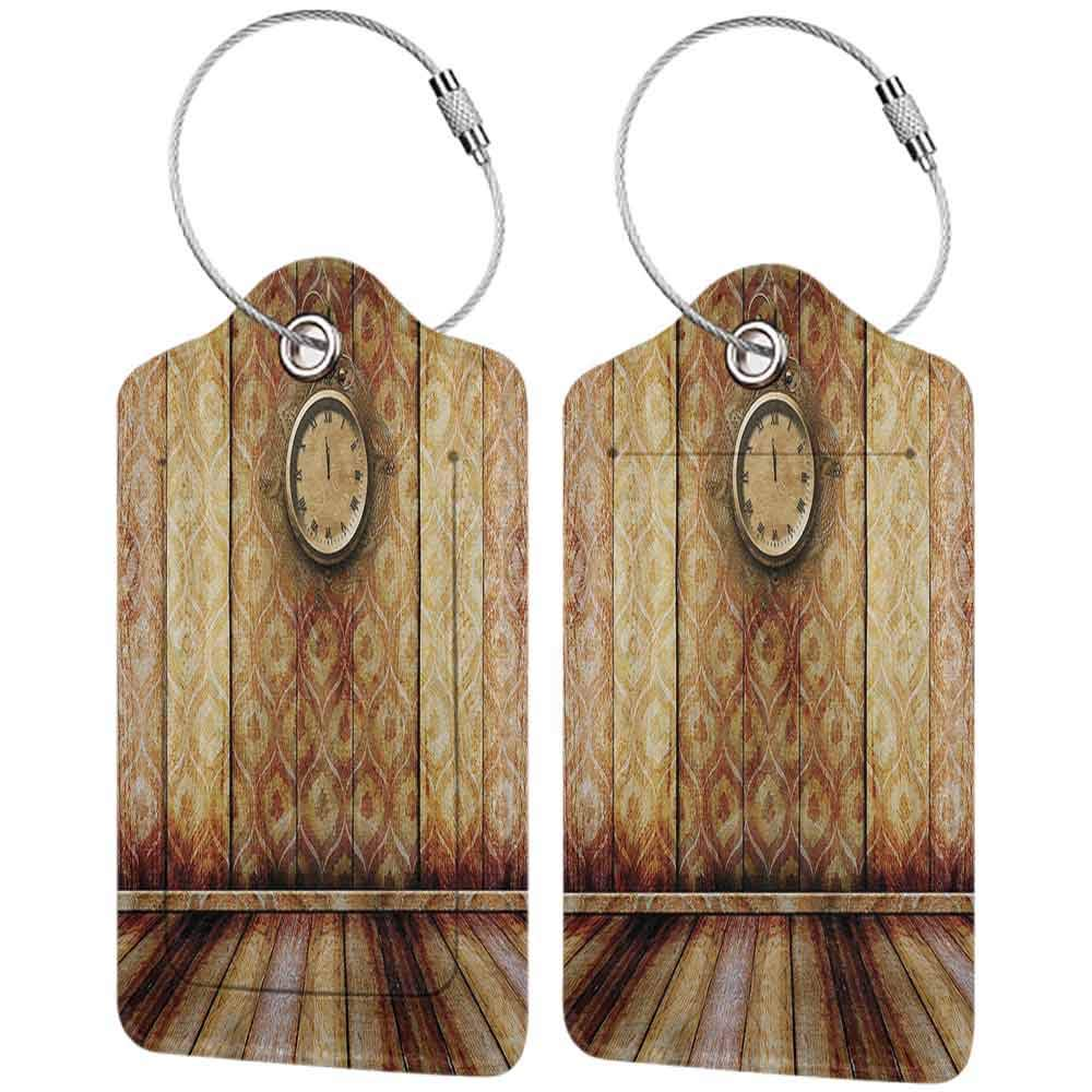Small luggage tag Victorian Decor Antique Clock on Medieval Style Wall Wooden Floor Classic Architecture Theme Art Quickly find the suitcase Beige Brown W2.7 x L4.6