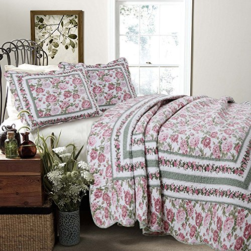 (Cozy Line Home Fashions Rose Bush Quilt Bedding Set, Pink Rose Blooming County Floral Flower Printed 100% Cotton Reversible Coverlet Bedspread Gifts for Women (Garden, Queen - 3 Piece))