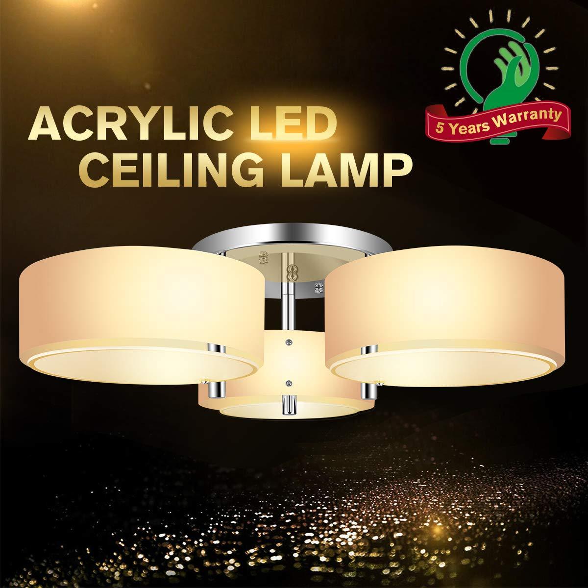 Ceiling lightschandelier ceiling light fixturesmodern flush mount light fixture with 3 bulbsacrylic close to ceiling light fixtures pendant lighting