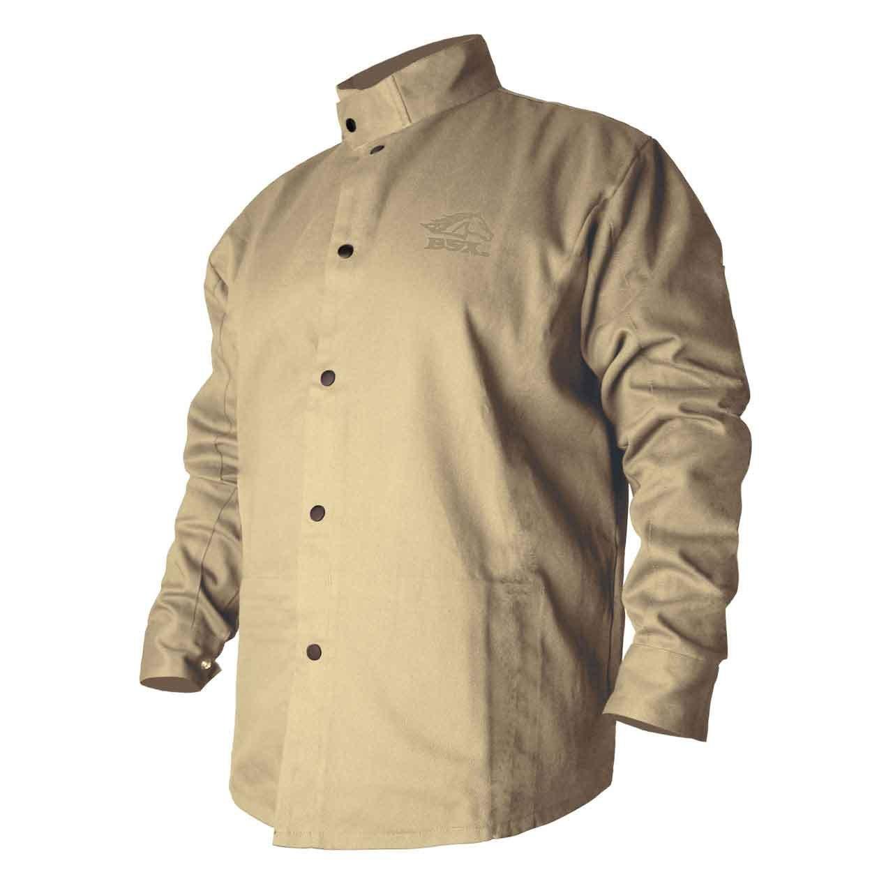 BSX Flame-Resistant Welding Jacket - Welder's Khaki, Size Small
