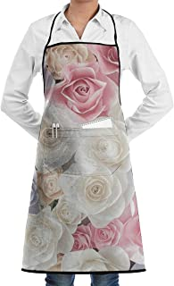 QIAOJIE Flowers Bib Apron for Women Men - Waterproof Chef Apron with Front Pocket for Kitchen Cooking Craft Baking
