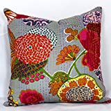 Ganesham- Kantha Decorative Handmade Cotton Pillow Case, Fruit Cushion Cover, Hippie Sofa Boho Chic Bohemian Pillow Throw (16x16) inch