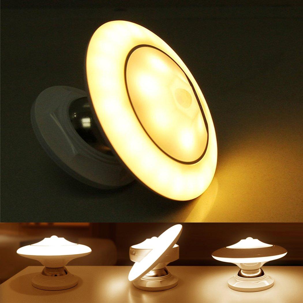 FUNRUI LED Nachtlicht mit Bewegungsmelder, AUTO/ON/OFF Wandleuchte Batterie Powered und USB Wiederaufladbar Nachtlichter für Flur, Schlafzimmer, Küche, Haus Küche