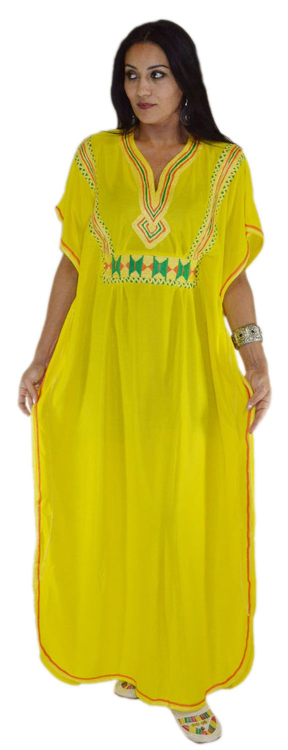 Moroccan Caftans Women Breathable Handmade with Embroidery Coverup Loungewear Ethnic Design Yellow