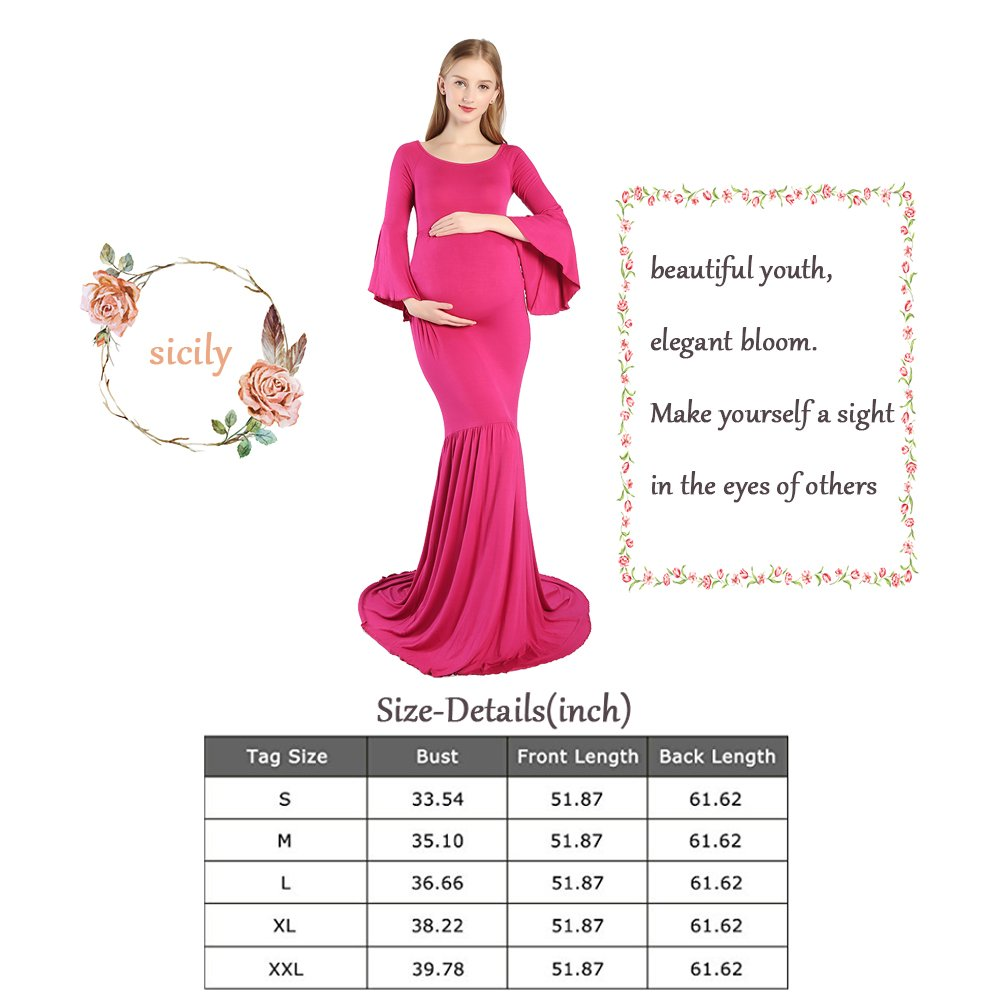 Maternity Dress Cold Shoulder Bell Sleeves Photo Prop Mermaid Gown with Long Train for Pregnant Photography