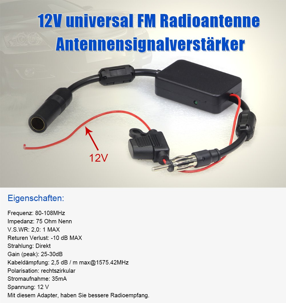 NAVISKAUTO Radio Antenne Signal Verst/ärker Verst/ärkung 12V Audio Stereo FM AM f/ür Fahrzeug KFZ Autoradio Y0015